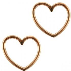 Bedeltje DQ hart Rose gold (nikkelvrij)