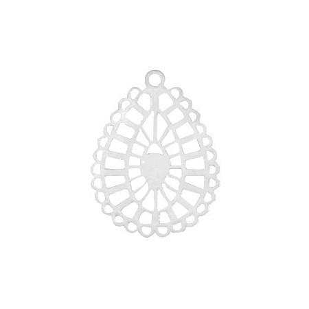 Bohemian hanger druppelvorm getand Zilver