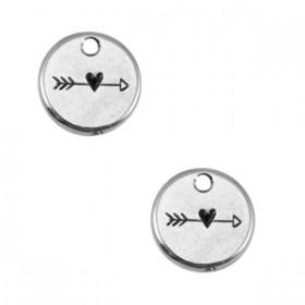 Bedeltje DQ metaal 12mm rond arrow & heart Antiek zilver (nikkelvrij)