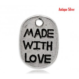 "Bedeltje ovaal ""Made with Love"" Antiek zilver"