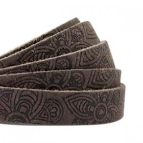 DQ leer met mandala print plat 10mm Dark vintage brown