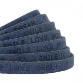 DQ leer met print plat 5mm Dark denim blue