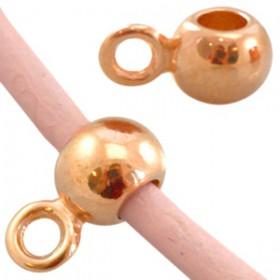 DQ Ring met oog voor 2mm leer Rosé Goud ( nikkelvrij )