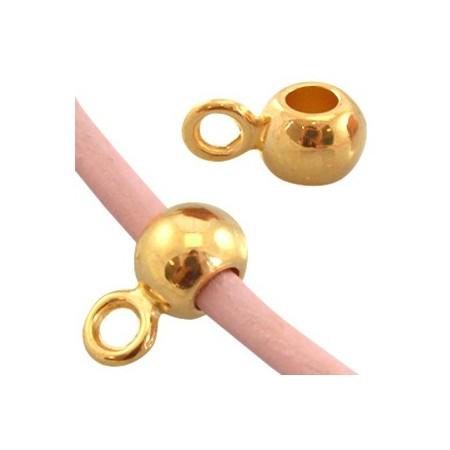 DQ Ring met oog voor 3mm leer Goud ( nikkelvrij )