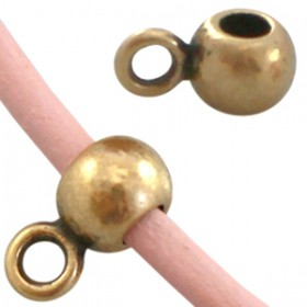 DQ Ring met oog voor 3mm leer Antiek Brons ( nikkelvrij )