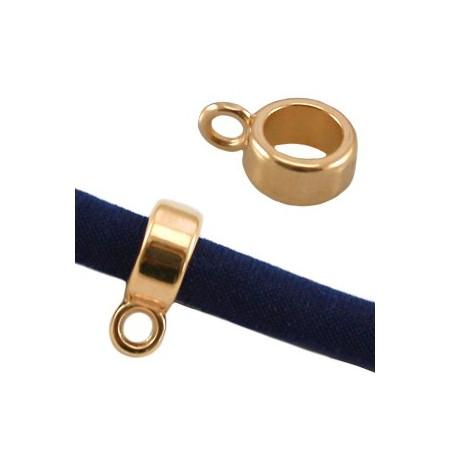 DQ Ring met oog voor 5mm leer Goud ( Nikkelvrij )