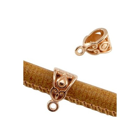 DQ Deco Ring met oog voor 6mm leer Rosé Goud ( Nikkelvrij )