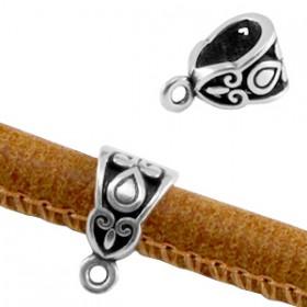 Deco Ring met oog voor 6mm leer Antiek zilver ( Nikkelvrij )