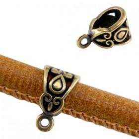 DQ Deco Ring met oog voor 6mm leer Antiek brons ( Nikkelvrij )