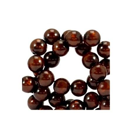 Polaris kralen rond 8 mm pearl shine Mocca brown