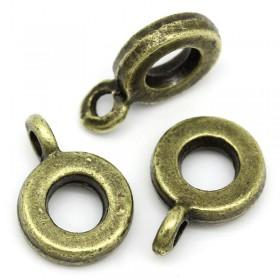 Metalen ring met oog voor 4 mm leer Antiek Antiek brons