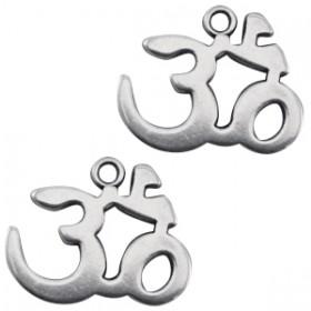 Bedeltje DQ Ohm teken  Antiek zilver (nikkelvrij)