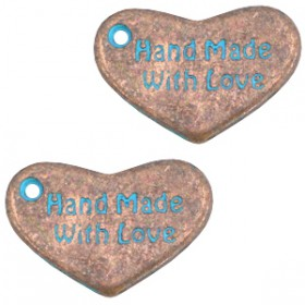 "DQ metaal bedel hart ""hand made with love"" Koper patina"