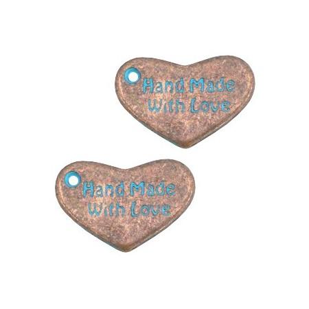 """DQ metaal bedel hart """"hand made with love"""" Koper patina"""