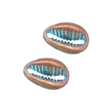 DQ metalen tussenstuk schelp Koper patina (nikkelvrij)