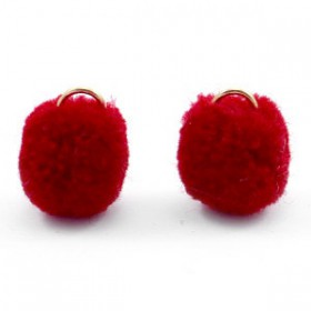 Pompom 1.5cm met gouden oog Port red