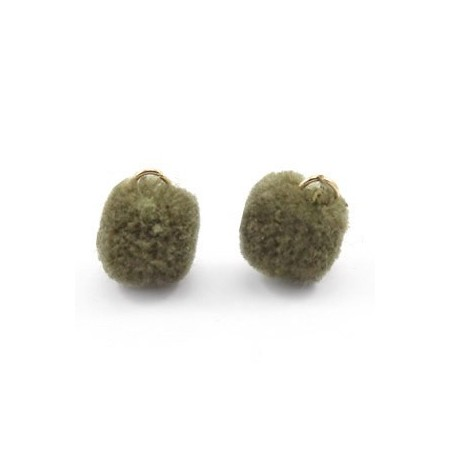 Pompom 1.5cm met gouden oog Olive green