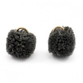 Pompom 1.5cm met gouden oog Anthracite black