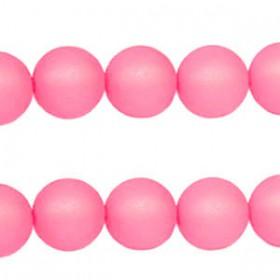 Polaris kralen matt rond 6 mm Soft roze pink