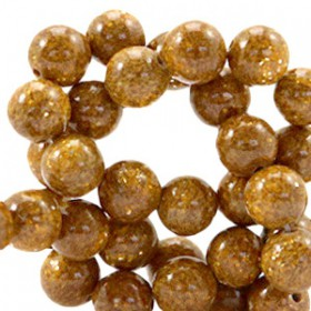 Natuursteen ronde kralen 8mm glitterline Brown topaz