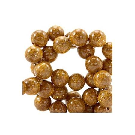 Natuursteen ronde kralen 8mm glitterline Brown topaz