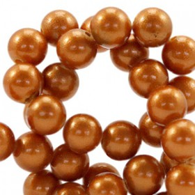 Glaskraal pearl Copper brown 6mm