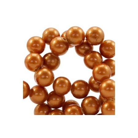 Glaskraal pearl Copper brown 8mm