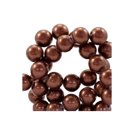 Glaskraal pearl Dark brown 6mm