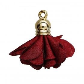 Tassel Flower met gold plated ring Wine Red
