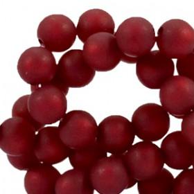 Polaris kralen rond 6mm matt Cherry red