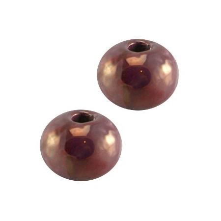 griekse keramiek kraal 8mm Aubergine paars - rose gold