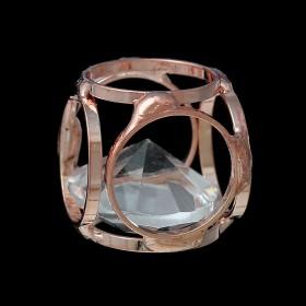 Metaal hanger kubus met rhinestone Rosé goud