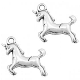 DQ metaal bedel unicorn Antiek zilver (nikkelvrij)