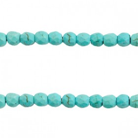 Keramiek turquoise kralen facet 4mm Turquoise blue
