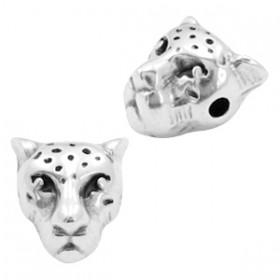 Kralen DQ metaal luipaardkop Antiek zilver (nikkelvrij)