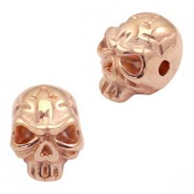 Kralen DQ metaal skull  Rosé goud (nikkelvrij)