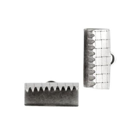 DQ metaal veterklem 15mm Antiek zilver (nikkelvrij)