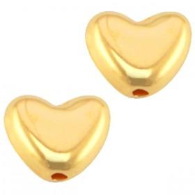 DQ metaal kraal hart Goud (nikkelvrij)