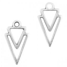 DQ metaal bedel triangle 16x9mm Antiek zilver (nikkelvrij)