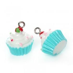 Resin Charm Wit blauwe cupcake