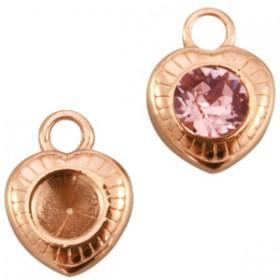 DQ metaal bedel/hanger hart voor puntsteen SS29 Rosé goud (nikkelvrij)