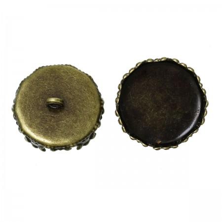 Dekseltje met oog voor glazen flesje Rond 26mm x 25mm antiek brons plated