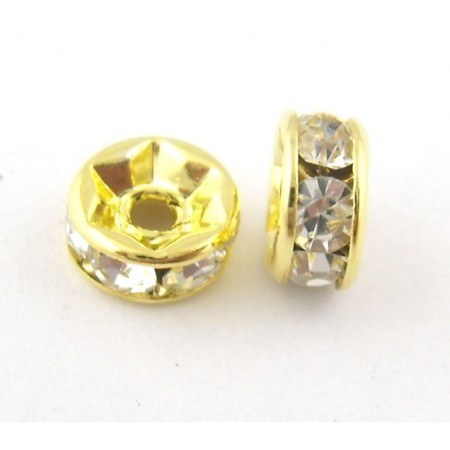 Metalen spacer gold rhinestone disc 5mm