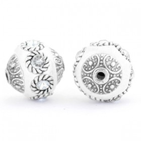 Indonesische Kraal 14mm White-crystal-silver