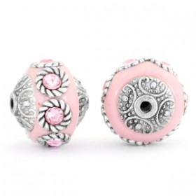 Indonesische Kraal 14mm Light pink-light rose-silver