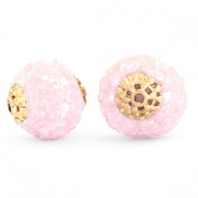 Indonesische Kraal 14mm Light pink rainbow-gold