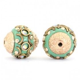 Indonesische Kraal 14mm Turquoise green-crystal AB-gold