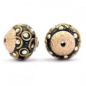 Indonesische Kraal 14mm Black-crystal AB-gold