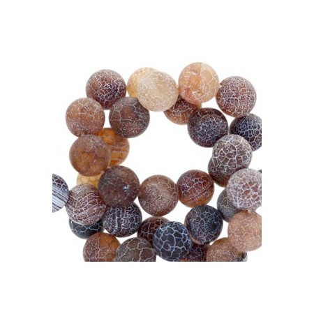 Half edelsteen kralen rond 6mm agaat Dark brown topaz opal