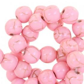 Keramiek turquoise kralen rond 6mm Pink